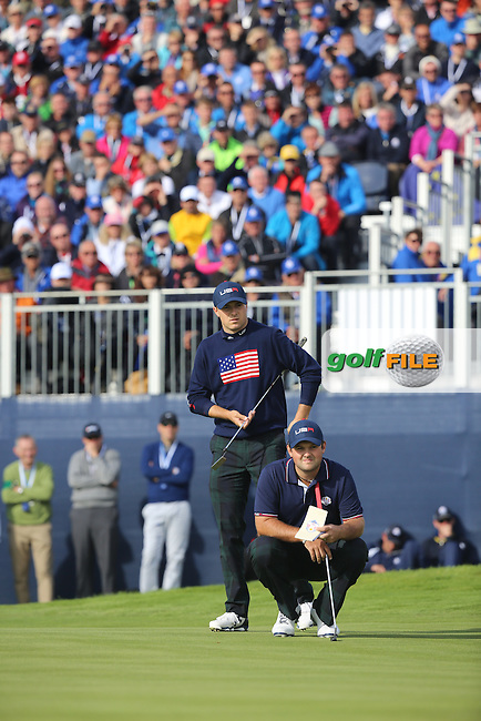 Patrick Reed and Jordan Spieth (USA) during the Saturday morning Fourballs of the 2014 Ryder Cup at Gleneagles. The 40th Ryder Cup is being played over the PGA Centenary Course at The Gleneagles Hotel, Perthshire from 26th to 28th September 2014.: Picture Kenneth E.Dennis, www.golffile.ie: \27/09/2014\