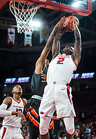 NWA Democrat-Gazette/BEN GOFF @NWABENGOFF <br /> Adrio Bailey (2) of Arkansas shoots as Brandon Mitchell of Tusculum defends in the first half Friday, Oct. 26, 2018, during an exhibition game in Bud Walton Arena in Fayetteville.