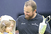 Shane Lowry (IRL), pictured with wife Wendy and daughter Iris, wins the Championship by 6 shots at the end of Sunday's Final Round of the 148th Open Championship, Royal Portrush Golf Club, Portrush, County Antrim, Northern Ireland. 21/07/2019.<br /> Picture Eoin Clarke / Golffile.ie<br /> <br /> All photo usage must carry mandatory copyright credit (© Golffile | Eoin Clarke)