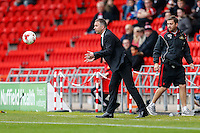Manager of Doncaster Rovers Darren Ferguson throws the ball back during the Sky Bet League 2 match between Doncaster Rovers and Wycombe Wanderers at the Keepmoat Stadium, Doncaster, England on 29 October 2016. Photo by David Horn.
