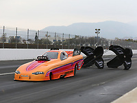 Feb 10, 2018; Pomona, CA, USA; NHRA funny car driver Brandon Welch during qualifying for the Winternationals at Auto Club Raceway at Pomona. Mandatory Credit: Mark J. Rebilas-USA TODAY Sports