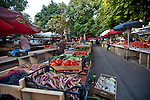 Croatia, Istria, Pula, Farmer's open-air Market, morning set up, Istrian coast, Adriatic Sea, Europe,
