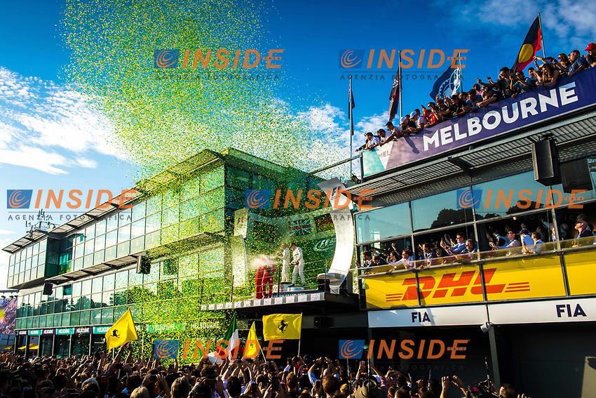 Poduim celebrations at Formula One World Championship, Rd1, Australian Grand Prix, Race, Albert Park, Melbourne, Australia, Sunday 26 March 2017.<br /> Foto Sutton/Panoramic/Insidefoto