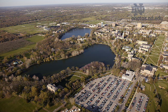 Notre Dame campus with St. Mary's Lake (foreground) and St. Joseph's Lake...Photo by Matt Cashore..