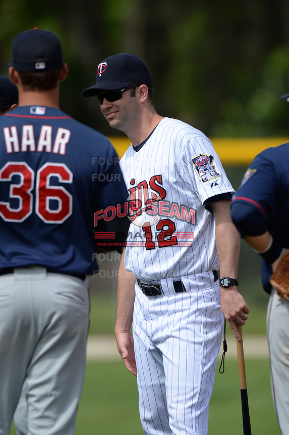 Minnesota Twins manager Jake Mauer (12) during practice before a minor league spring training game against the Baltimore Orioles on March 20, 2014 at the Buck O'Neil Complex in Sarasota, Florida.  (Mike Janes/Four Seam Images)