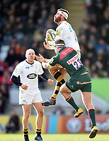 Willie Le Roux of Wasps claims the ball in the air. Aviva Premiership match, between Leicester Tigers and Wasps on March 25, 2018 at Welford Road in Leicester, England. Photo by: Patrick Khachfe / JMP