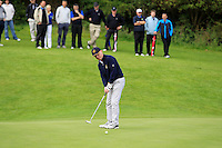 Paul Mackey (Waterford) on the 5th green during the AIG Jimmy Bruen Shield Final between Lisselan &amp; Waterford in the AIG Cups &amp; Shields at Carton House on Saturday 20th September 2014.<br /> Picture:  Thos Caffrey / www.golffile.ie