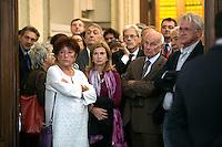 Fausto Bertinotti con i familiari di Ingrao<br /> Roma 28-09-2015 Camera dei Deputati.  Camera ardente di Pietro Ingrao, morto all'eta' di 100 anni.<br /> Burial Chamber for Pietro Ingrao, leader of the Italian Comunist Party, died at the age of 100-<br /> Photo Samantha Zucchi Insidefoto
