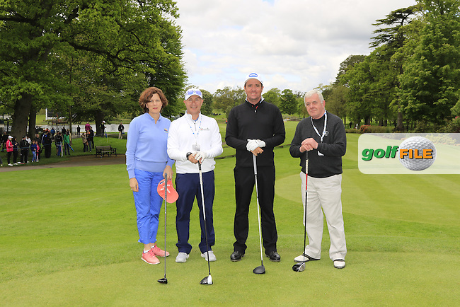 Scott Hend's team during Wednesday's Pro-Am of the 2016 Dubai Duty Free Irish Open hosted by Rory Foundation held at the K Club, Straffan, Co.Kildare, Ireland. 18th May 2016.<br /> Picture: Eoin Clarke | Golffile<br /> <br /> <br /> All photos usage must carry mandatory copyright credit (&copy; Golffile | Eoin Clarke)
