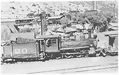 Side view of RGS 4-6-0 #20 switching at Durango.<br /> RGS  Durango, CO  Taken by Best, Gerald M. - 6/8/1938