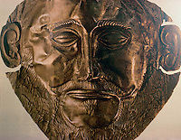 "Greek Art:  Mycenae Gold Death Mask, c. 1550-1500 B.C.  The  ""mask of Agamemnon"" was  found in the grave shafts of Mycenae  by Heinrich Schliemann, an amateur archaeologist.   Reference only."