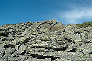 Appalachian Trail -Lichen covered rocks along the Gulfside Trail in the scenic landscape of the White Mountains, New Hampshire USA