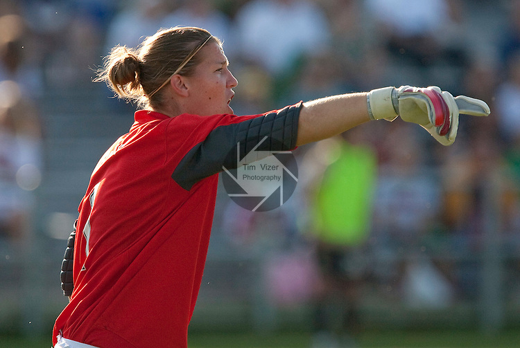 July 26 2009          FC Gold Pride goalkeeper Nicole Barnhart yells directions to her teammates in the second half.  The game ended in a 1-1 tie.   The St. Louis Athletica hosted the FC Gold Pride on Sunday July 26, 2009 at the Anheuser Busch Soccer Park in Fenton, Missouri.   ..            *******EDITORIAL USE ONLY*******