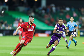 4th November 2017, nib Stadium, Perth, Australia; A-League football, Perth Glory versus Adelaide United; Adelaide United Ben Warland and Perth Glory Diego Castro focus on the ball as they race to win control