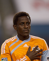 Houston Dynamo midfielder Lovel Palmer (22). The New England Revolution defeated Houston Dynamo, 1-0, at Gillette Stadium on August 14, 2010.