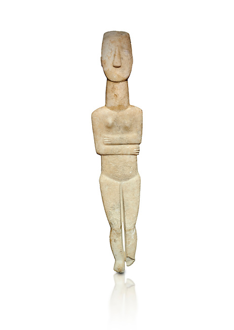 Marble female Cycladic statue figurine with folded arms of the Spedos type. Early Cycladic Period II (2800-3200) from Naxos, Cat No 20934. National Archaeological Museum, Athens.   White background.<br /> <br /> <br /> One of the largest known Cycladic statues at 89CM tall this figurine still has traces of a colour on the hair and eyes.