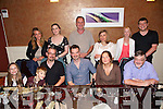 McDarragh Norris celebrating his forthcoming wedding at Ballyseedy to Joanne Lathnam from Ardfert on Friday at a dinner in Darcy's on Thursday .  Front left to right, Zuleikha Robinson, Zac Robinson, Conan Norris, McDarragh Norris, Tanishka Norris, Geoffrey Gallagher.  Back left to right, Nadia Gallagher, Catriona Boothman, Tim Robinson, Beatrice Gallagher, Nicola Gallagher, Jeffrey Gallagher