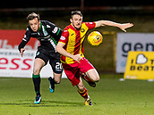 2nd December 2017, Firhill Stadium, Glasgow, Scotland; Scottish Premiership football, Partick Thistle versus Hibernian; Brandon Barker (Hibernian)  and Niall Keown (Partick Thistle)