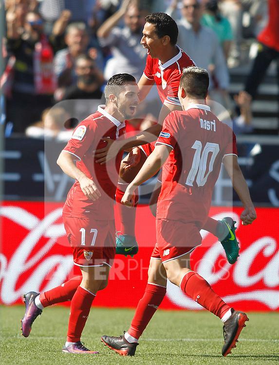 Sevilla FC's Pablo Sarabia (l), Paulo Henrique Ganso (c) and Samir Nasri celebrate goal during La Liga match. October 15,2016. (ALTERPHOTOS/Acero)