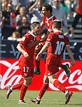 Sevilla FC's Pablo Sarabia (l), Paulo Henrique Ganso (c) and Samir Nasri celebrate goal during La Liga match. October 15,2016. (ALTERPHOTOS/Acero)