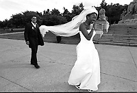 Montreal (QC) CANADA - July 2000 - file photo - MODEL RELEASE FOR EDITORIAL USE (NO PROPERTY RELEASE) -  multi-ethnic wedding (Haitian bride and Italian groom)