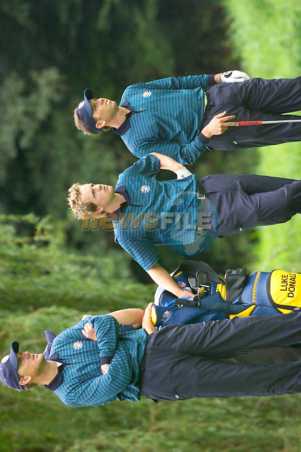 20th September, 2006. European Ryder Cup team members (From L to R:Robert Karlsson, Luke Donald and Sergio Garcia on the 16th fairway during practise Day 2 of the Palmer Course at the K CLub..Photo: Eoin Clarke/ Newsfile.<br />
