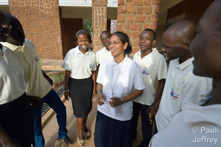 Sister Leema Rose Savarimuthu speaks with students at the Catholic Health Training Institute (CHTI) in Wau, South Sudan. Run by Solidarity with South Sudan, an international network of Catholic organizations supporting the development of the world's newest country, the CHTI trains nurses and midwives from throughout the country. Savarimuthu, an Indian who serves as the Institute's principal, is a member of the Sisters Servants of the Holy Spirit.