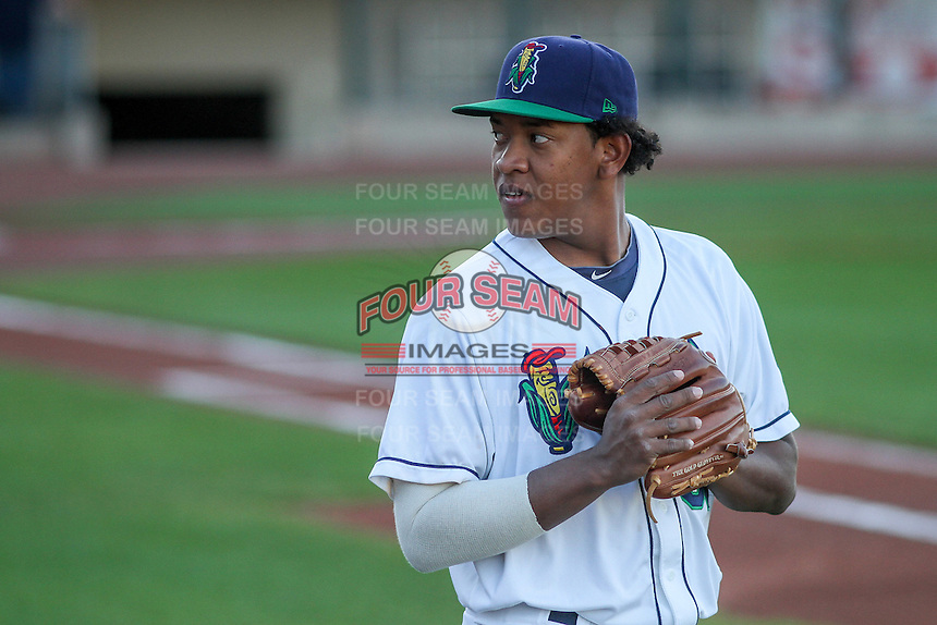 Cedar Rapids Kernels pitcher Yorman Landa (38) prior to game five of the Midwest League Championship Series against the West Michigan Whitecaps on September 21st, 2015 at Perfect Game Field at Veterans Memorial Stadium in Cedar Rapids, Iowa.  West Michigan defeated Cedar Rapids 3-2 to win the Midwest League Championship. (Brad Krause/Four Seam Images)