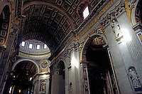 Statues And Ceiling at Saint Peter's Basilica, Vatican City, Rome, Italy.