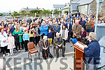 Val Moynihan addresses Patrick O'Connor family and the crowd that gathered  for the Patrick O'Connor memorial plaque ceremony in Rathmore on Sunday