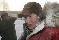 Micah Degerlund  finish line  Jr. Iditarod 2006