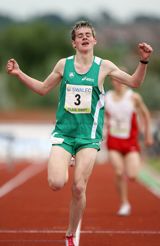 Photo: Rich Eaton...Schools International Athletic Board, Track & Field International Match, Newport. 21/07/2007. Thomas Cotter of Ireland wins gold in the boys 1500m steeplechase.