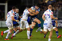 Charlie Ewels of Bath Rugby takes on the Exeter Chiefs defence. Gallagher Premiership match, between Bath Rugby and Exeter Chiefs on October 5, 2018 at the Recreation Ground in Bath, England. Photo by: Patrick Khachfe / Onside Images