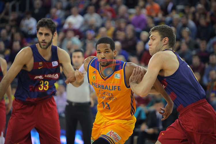 League ACB-ENDESA 2016/2017. Game: 11.<br /> FC Barcelona Lassa vs Herbalife Gran Canaria: 79-78.<br /> Startos Perperoglu, Eulis Baez &amp; Aleksandar Vezenkov.