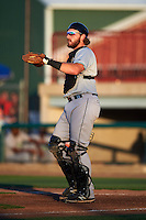 Clinton LumberKings catcher Adam Martin (27) during a game against the Burlington Bees on August 20, 2015 at Community Field in Burlington, Iowa.  Burlington defeated Clinton 3-2.  (Mike Janes/Four Seam Images)