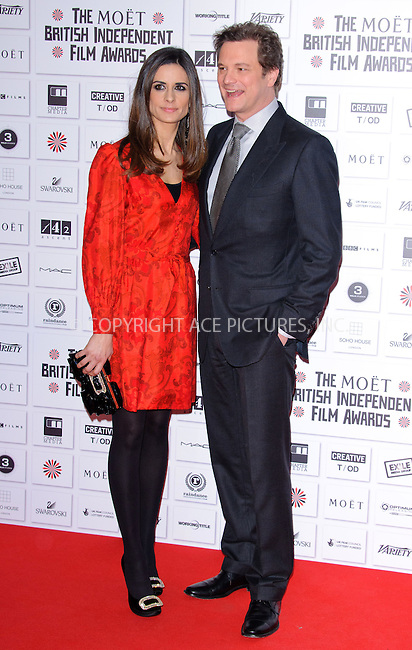 WWW.ACEPIXS.COM . . . . .  ..... . . . . US SALES ONLY . . . . .....December 5 2010, London....Livia Giuggioli and Colin Firth at the British Independent Film Awards held at Old Billingsgate Market on December 5 2010 in London....Please byline: FAMOUS-ACE PICTURES... . . . .  ....Ace Pictures, Inc:  ..Tel: (212) 243-8787..e-mail: info@acepixs.com..web: http://www.acepixs.com