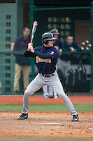 John Martillotta (31) of the Toledo Rockets at bat against the Virginia Tech Hokies at The Ripken Experience on February 28, 2015 in Myrtle Beach, South Carolina.  The Hokies defeated the Rockets 1-0 in 10 innings.  (Brian Westerholt/Four Seam Images)