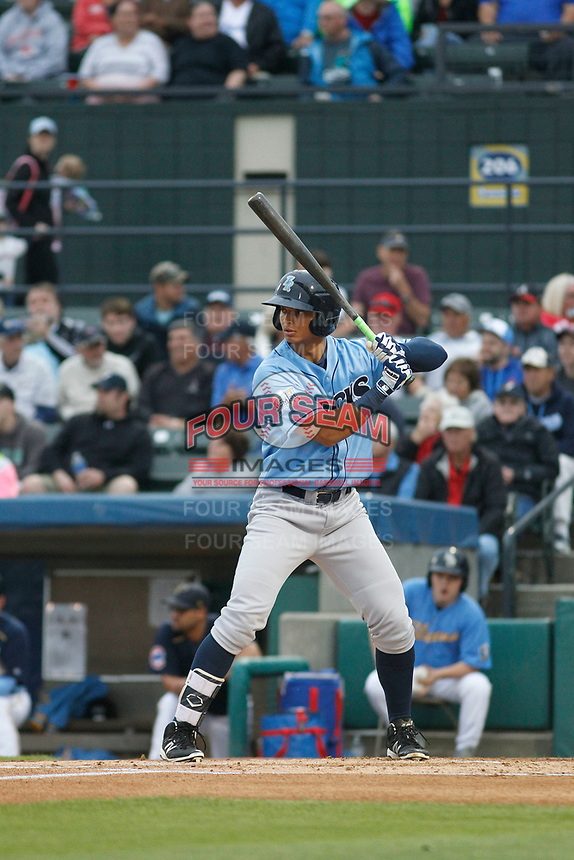 Wilmington Blue Rocks outfielder Anderson Miller (24) at bat during a game against the Myrtle Beach Pelicans at Ticketreturn Field at Pelicans Ballpark on April 25, 2017 in Myrtle Beach, South Carolina. Myrtle Beach defeated Wilmington 7-6. (Robert Gurganus/Four Seam Images)