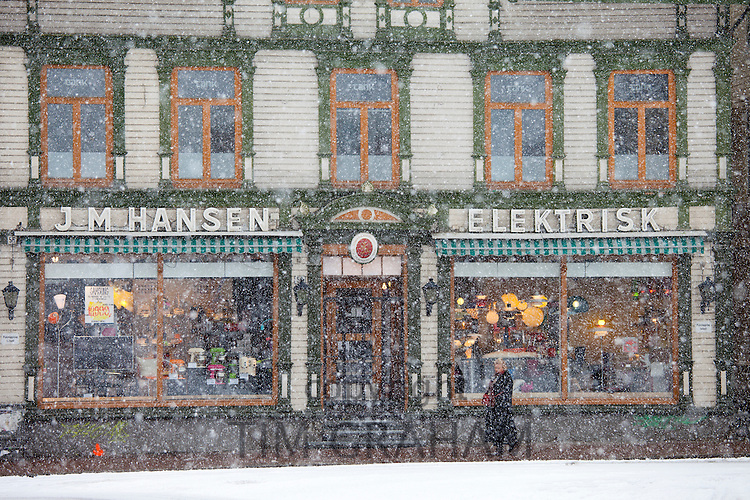 Quaint JM Hansen electrical shop, street scenes around the city of Tromso, in the Arctic Circle in Northern Norway