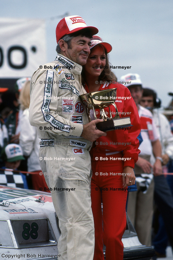 Bobby Allison in Victory Lane after winning a NASCAR Winston Cup race in 1982 at Michigan International Speedway near Brooklyn, Michigan.