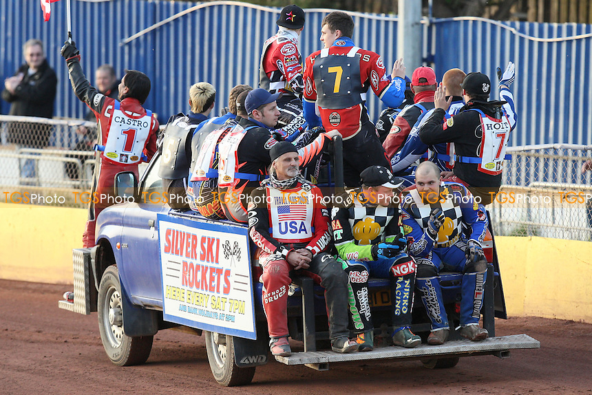The teams are paraded before the meeting - Hackney Hawks vs Team America - Speedway Challenge Meeting at Rye House - 09/04/11 - MANDATORY CREDIT: Gavin Ellis/TGSPHOTO - Self billing applies where appropriate - Tel: 0845 094 6026