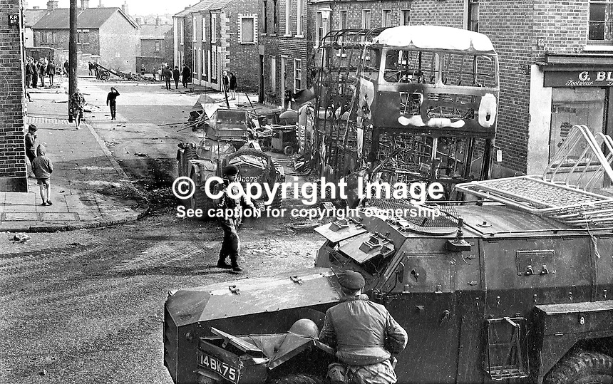 The aftermath in the Ardoyne district of Belfast after post-Internment overnight rioting. 385/71, 197108090385a..Copyright Image from Victor Patterson, 54 Dorchester Park, Belfast, UK, BT9 6RJ..Tel: +44 28 9066 1296.Mob: +44 7802 353836.Voicemail +44 20 8816 7153.Skype: victorpattersonbelfast.Email: victorpatterson@mac.com.Email: victorpatterson@ireland.com (back-up)..IMPORTANT: If you wish to use this image or any other of my images please go to www.victorpatterson.com and click on the Terms & Conditions. Then contact me by email or phone with the reference number(s) of the image(s) concerned.