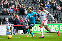 Fleetwood Town's Wes Burns competing with Milton Keynes Dons' Gboly Ariyibi<br /> <br /> Photographer Andrew Kearns/CameraSport<br /> <br /> The EFL Sky Bet League One - Milton Keynes Dons v Fleetwood Town - Saturday 11th November 2017 - Stadium MK - Milton Keynes<br /> <br /> World Copyright &copy; 2017 CameraSport. All rights reserved. 43 Linden Ave. Countesthorpe. Leicester. England. LE8 5PG - Tel: +44 (0) 116 277 4147 - admin@camerasport.com - www.camerasport.com