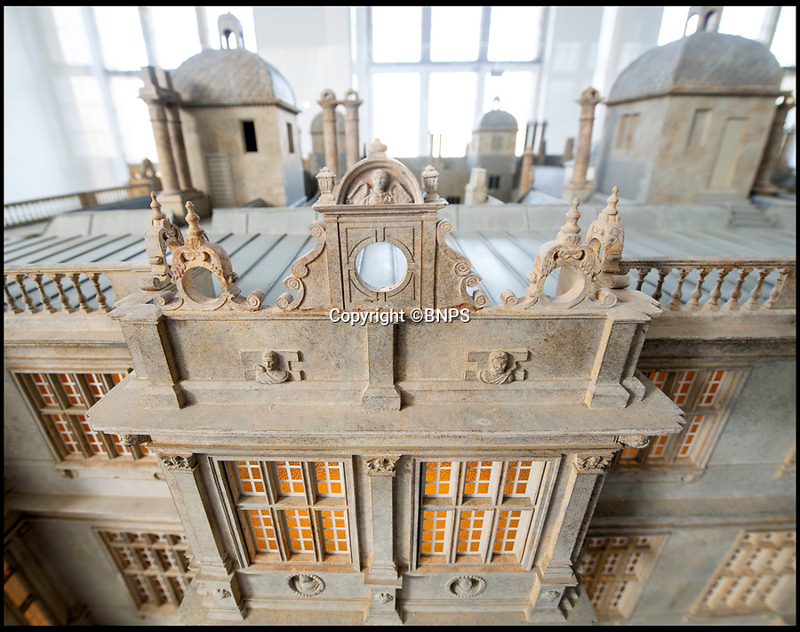 BNPS.co.uk (01202 558833)<br /> Pic: PhilYeomans/BNPS<br /> <br /> The statues lining the roof were individually copied.<br /> <br /> This stunning model of one of Britain's finest stately homes has been painstakingly restored after languishing in a store room for the last seven years.<br /> <br /> The 1/25 scale model of Longleat House in Wiltshire was commissioned by the 6th Marquess of Bath in 1988 and went on display in the 16th Century mansion's butchery.<br /> <br /> But it was broken up into 50 pieces and put into storage when the home underwent renovations several years ago.<br /> <br /> Kim Ward, 60, and his six man team have spent the past two months restoring the model to its former glory.