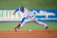St. Lucie Mets shortstop Andres Gimenez (12) fields a ground ball during the first game of a doubleheader against the Charlotte Stone Crabs on April 24, 2018 at First Data Field in Port St. Lucie, Florida.  St. Lucie defeated Charlotte 5-3.  (Mike Janes/Four Seam Images)