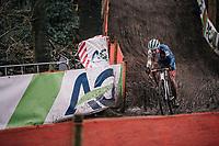 Evie Richards (GBR/TrekFactoryRacing) leading the race in the last lap<br /> <br /> Women U23 Race<br /> UCI CX Worlds 2018<br /> Valkenburg - The Netherlands