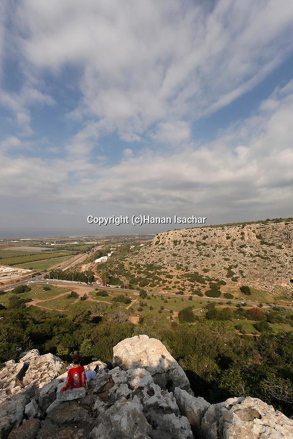 Israel, Carmel. Wadi Oren and road 721 and Carmel coast as seen from Etzba cave