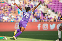 Orlando, FL - Sunday May 14, 2017: Jasmyne Spencer celebrates a goal during a regular season National Women's Soccer League (NWSL) match between the Orlando Pride and the North Carolina Courage at Orlando City Stadium.
