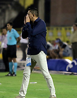 NEIVA-COLOMBIA, 29-03-2019: Diego Corredor, técnico de Patriotas Boyacá, durante partido entre Atlético Huila y Patriotas Boyacá, de la fecha 12 por la Liga Aguila, I 2019 en el estadio Guillermo Plazas Alcid de Neiva. / Diego Corredor, coach of Patriotas Boyaca, during a match between Atletico Huila and Patriotas Boyaca of the 12th date for the Liga Aguila I 2019 at the Guillermo Plazas Alcid Stadium in Neiva city. Photo: VizzorImage  / Sergio Reyes / Cont.