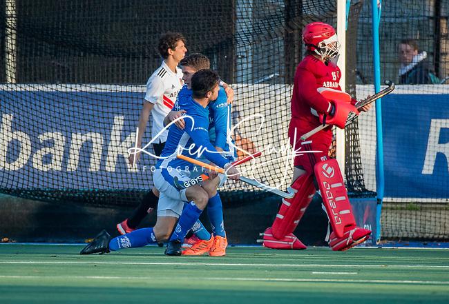 UTRECHT - Kampong heeft gescoord,  tijdens de hoofdklasse hockeywedstrijd mannen, Kampong-Amsterdam (4-3).  COPYRIGHT KOEN SUYK